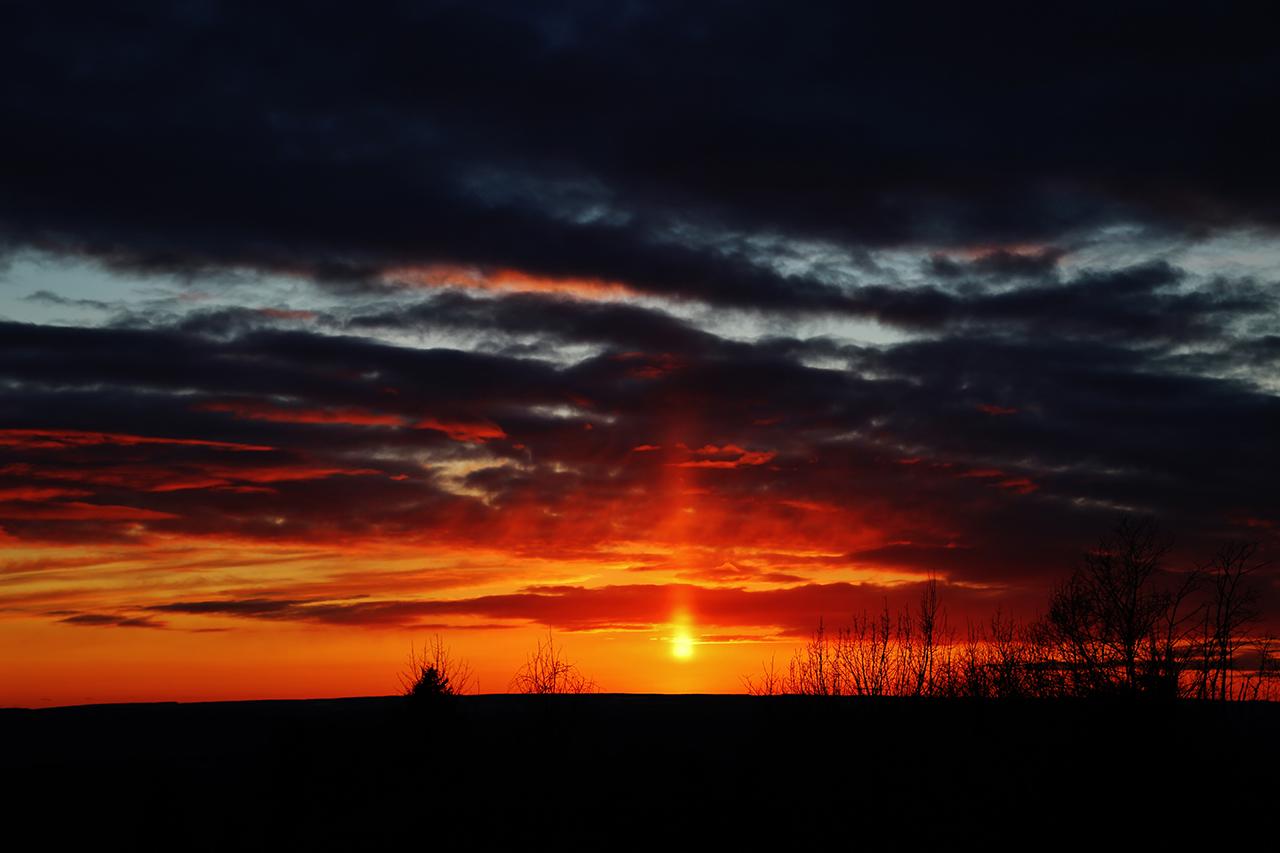 "Gorgeous ""Sun Pillar"" in Tompkins County (photo)"