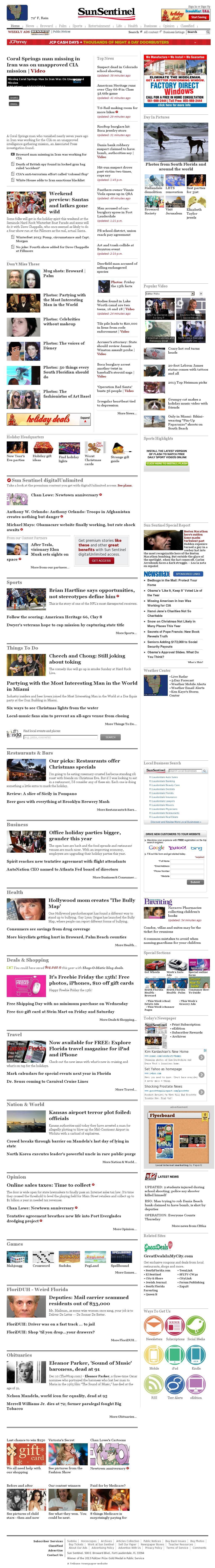 (Florida) Sun Sentinel at Friday Dec. 13, 2013, 9:16 p.m. UTC