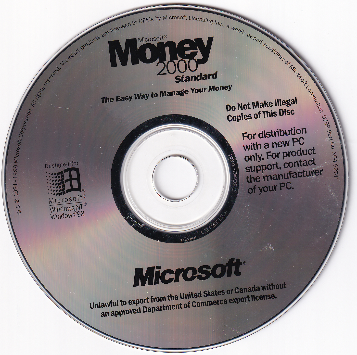 Microsoft Money 2000 Standard v8.0 OEM US (Windows)(1999 ...