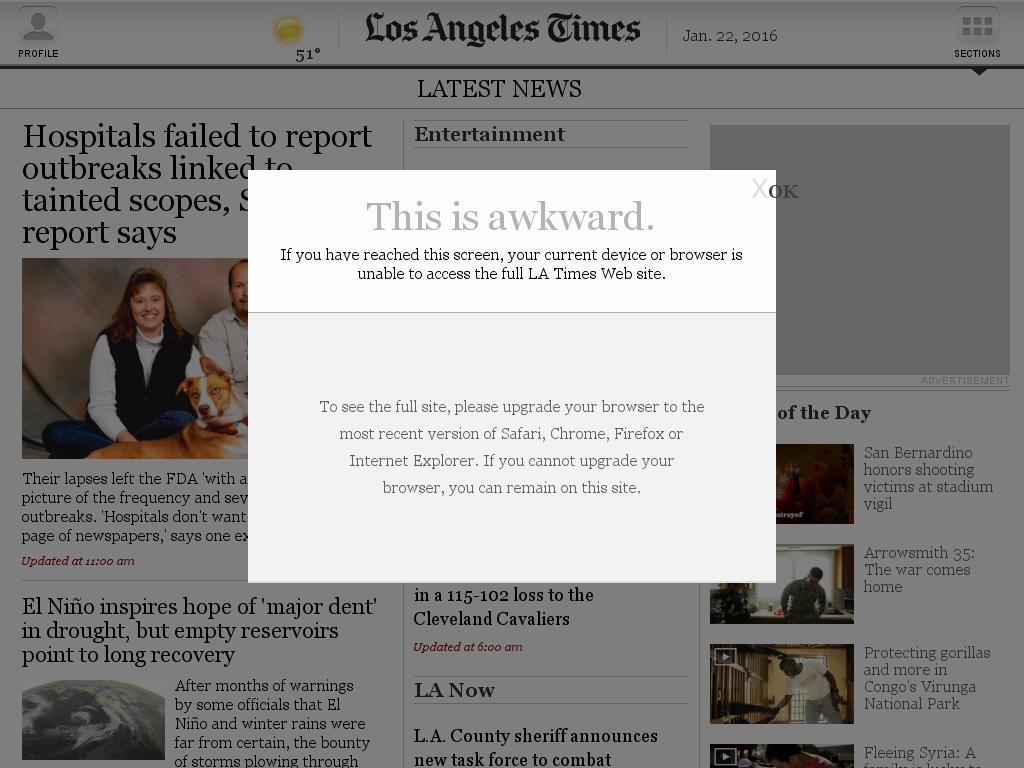 Los Angeles Times at Friday Jan. 22, 2016, 3:12 p.m. UTC